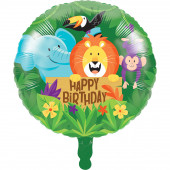 Balão Foil Animais da Selva Happy Birthday