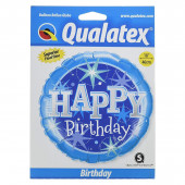 Balão Foil Azul Happy Birthday