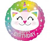 Balão Foil Caticorn Happy Birthday 46cm