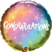 Balão Foil Congratulations Ombre Estrelas 46cm