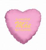 Balão Foil Coração A Melhor Mãe do Mundo Rosa e Dourado 45cm