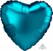 Balão Foil Coração Aqua Turquesa Acetinado 43cm