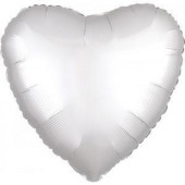 Balão Foil Coração Branco Acetinado 43cm