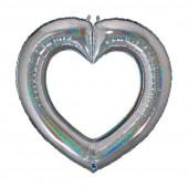 Balão Foil Coração Glitter Holographic Prateado 104cm