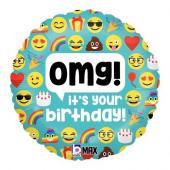 Balão Foil Emoji OMG Birthday 46cm