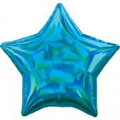 Balão Foil Estrela Azul Ciano Iridescente 48cm