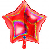 Balão Foil Estrela Glitter Holográfico Vermelho