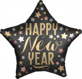 Balão Foil Estrela Happy New Year Satin Luxe 48cm