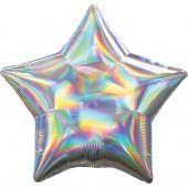 Balão Foil Estrela Prateado Iridescente 48cm