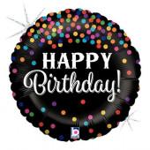 Balão Foil Glitter Holográfico Happy Birthday Confetti 46cm