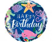Balão Foil Happy Birthday Animais Marinhos 46cm
