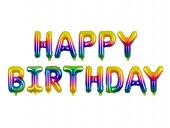 Balão Foil Happy Birthday Arco Íris