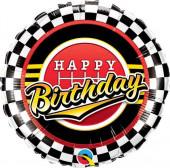 Balão Foil Happy Birthday Bandeira Xadrez 46cm