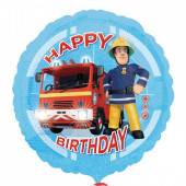 Balão Foil Happy Birthday Bombeiro Sam 43cm