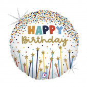 Balão Foil Happy Birthday Estrelas 46cm