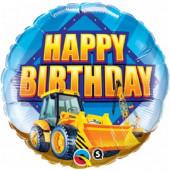 Balão Foil Happy Birthday Máquina de Construção 46cm