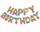 Balão Foil Happy Birthday Rainbow