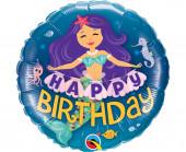 Balão Foil Happy Birthday Sereia 46cm