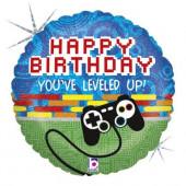 Balão Foil Happy Birthday Videojogos Holográfico 46cm