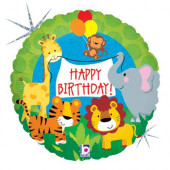 Balão Foil Holográfico Happy Birthday Animais Selva 46cm