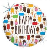 Balão Foil Holográfico Happy Birthday Gelados 46cm