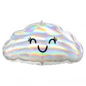 Balão Foil Nuvem Iridescente Holográfica Junior Shape 58cm