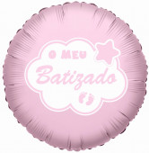 Balão Foil O Meu Batizado Rosa 45cm