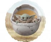 Balão Foil Redondo Baby Yoda Star Wars The Mandalorian 43cm
