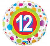 Balão Foil Redondo Bolinhas Número 12 46cm