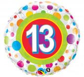 Balão Foil Redondo Bolinhas Número 13 46cm