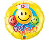 Balão Foil Redondo Get Well Emoji 46cm