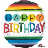Balão Foil Redondo Happy Birthday Arco Íris 43cm