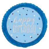 Balão Foil Redondo Happy Birthday Azul Glitter 46cm