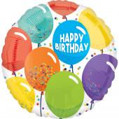 Balão Foil Redondo Happy Birthday Balões 43cm