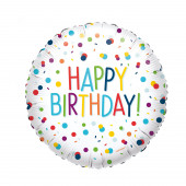Balão Foil Redondo Happy Birthday Confetti 43cm