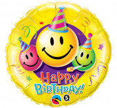 Balão Foil Redondo Happy Birthday Emoji 46cm