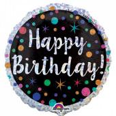 Balão Foil Redondo Happy Birthday Holográfico Bolas 45cm