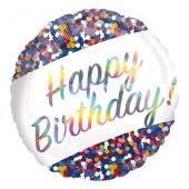 Balão Foil Redondo Happy Birthday Holográfico Confetti 45cm