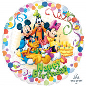 Balão Foil Redondo Happy Birthday Mickey e Amigos 43cm