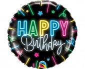 Balão Foil Redondo Happy Birthday Neon Glow 46cm