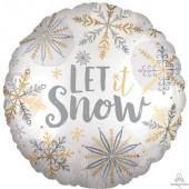 Balão Foil Redondo Let It Snow Satin Luxe 45cm