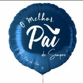 Balão Foil Redondo Melhor Pai Azul 43cm