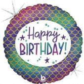 Balão Foil Sereia Happy Birthday Glitter Holográfico 46cm