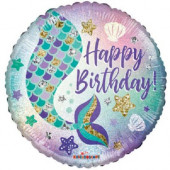 Balão Foil Sereia Happy Birthday Holográfico 46cm