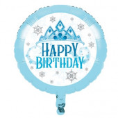 Balão Foil Snow Princess Happy Birthday 46cm
