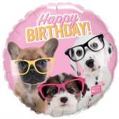 Balão Foil Studio Pets Cães com Óculos 46cm