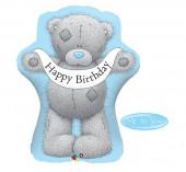 Balão Foil Urso Azul Happy Birthday 91cm