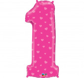 Balão Número 1 Corações Rosa