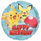 Balão Pokémon Happy Birthday 43cm