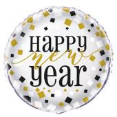 Balão Redondo Passagem de Ano Happy New Year 45cm